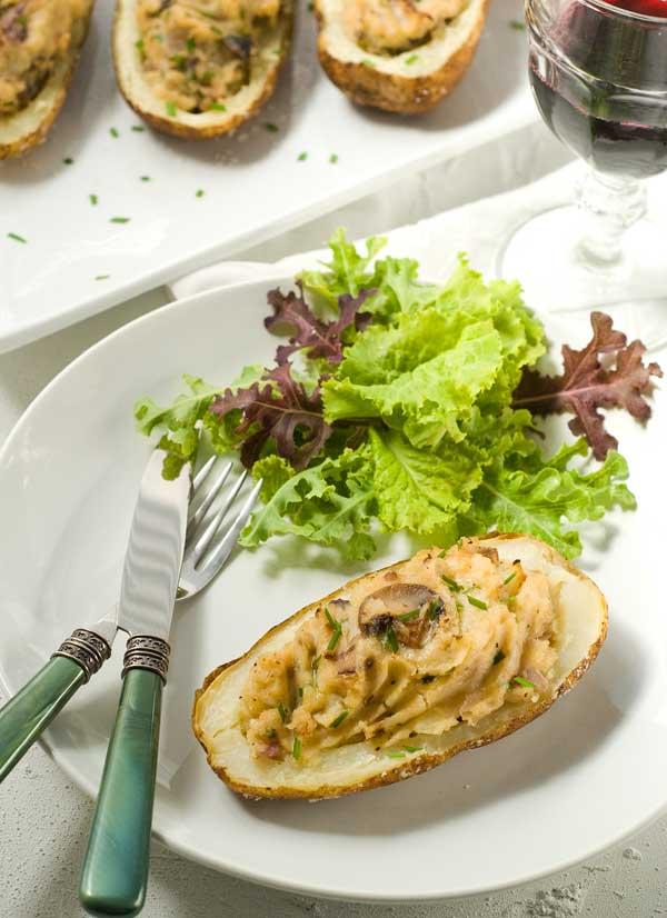 Gluten Free Vegan Horseradish Mushroom Twoce Baked Potatoes