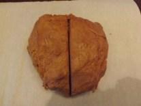Cut dough in half.