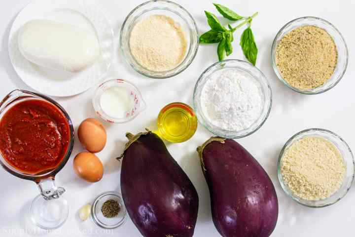 overhead shot of ingredients for eggplant parmesan