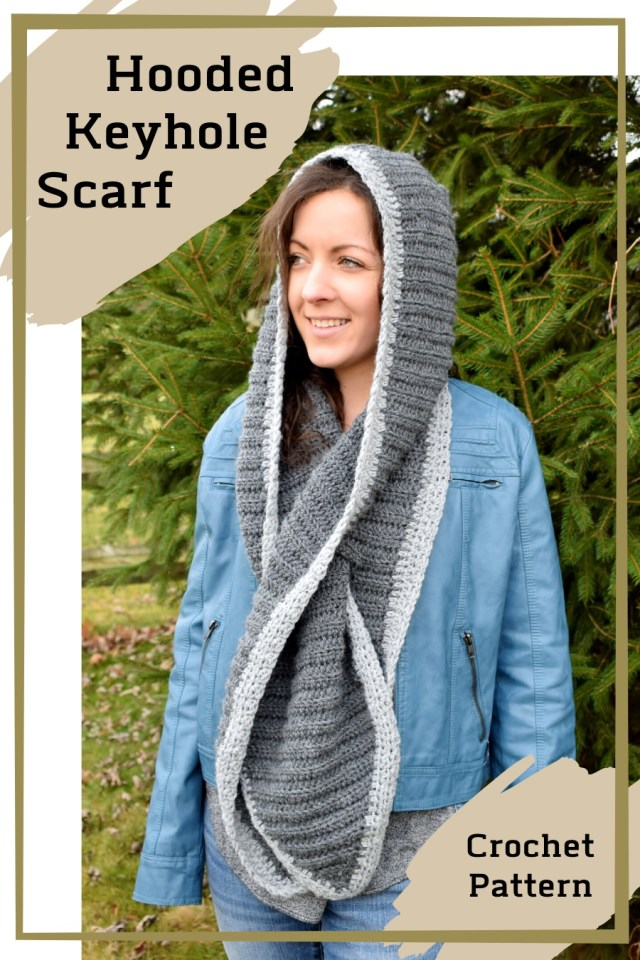 hooded keyhole scarf crochet pattern pinterest image