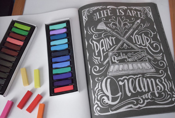chalkboard art adult coloring book