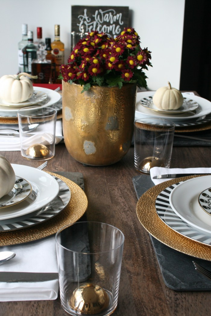 Fall Tablescape: Metallic Inspired