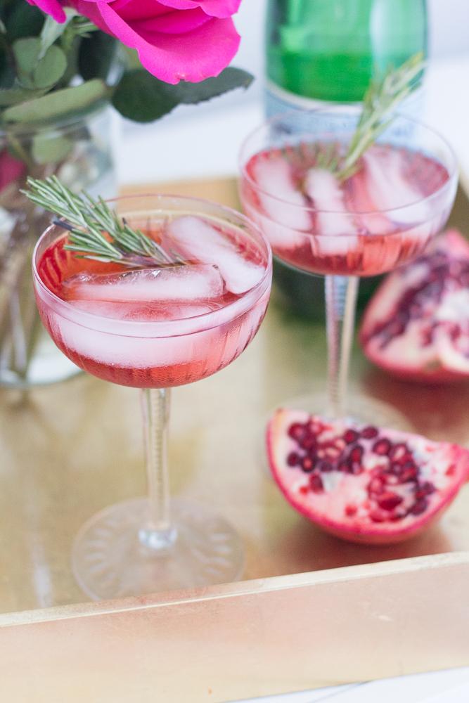 Rosemary Pomegranate Christmas Cocktail