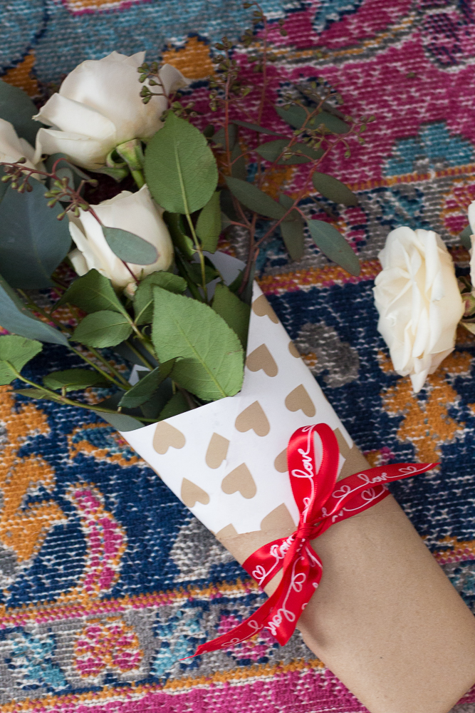 DIY Paper Wrapped Valentines Bouquet