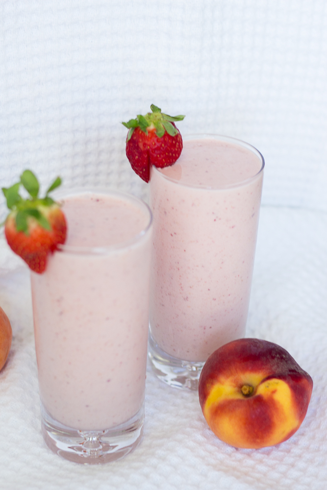 Strawberry Peach Spring Smoothie