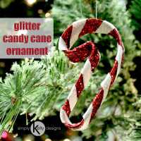 Glitter Candy Cane Ornament by Simply Kelly Designs