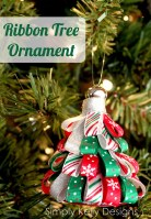 DIY Ribbon Tree Ornament by Simply Kelly Designs #Christmas #ornament #ribbon #ribbontree #christmastree