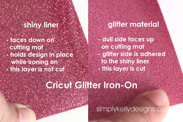 different layers of Cricut Glitter Iron-On