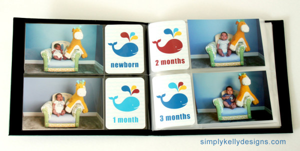 Printable Whaled Themed Monthly and Baby's First Year Cards by Simply Kelly Designs #ProjectLife