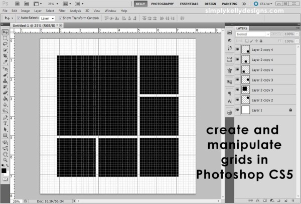 Légend image in how to make a printable grid in photoshop