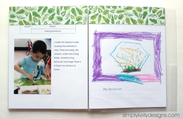 March Personal Yearbook Page by Simply Kelly Designs #personalyearbooks #terrarium #craftingwithkids
