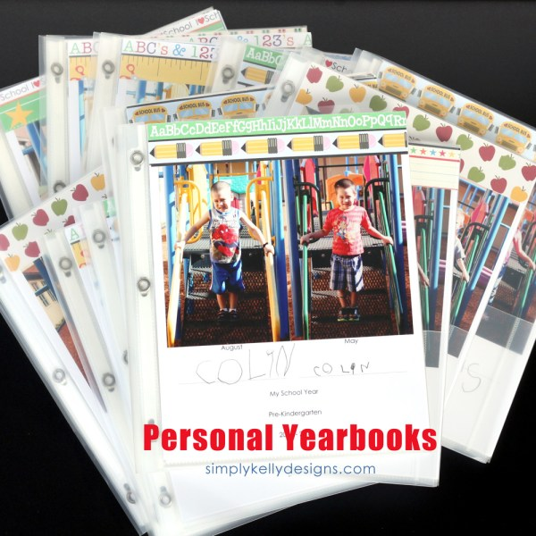 2013 – 2014 Personal Yearbooks by Simply Kelly Designs #craftingwithkids #personalyearbooks #laboroflove #preschool #scrapbooking