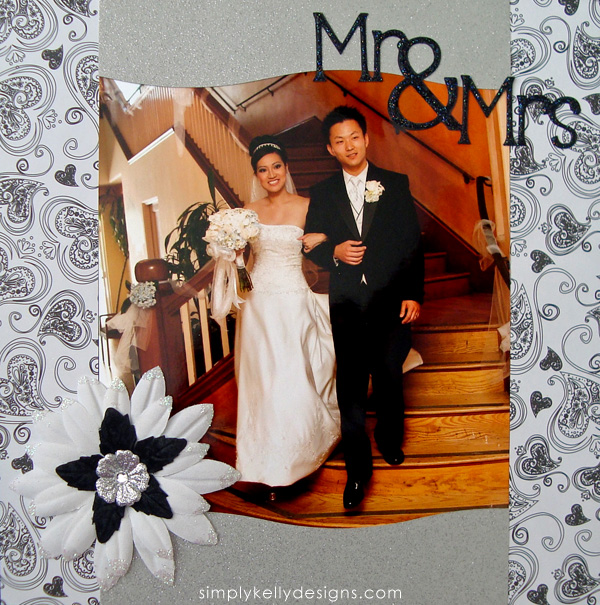 DIY Classic Wedding Scrapbook: Mr. and Mrs. by Simply Kelly Designs #wedding #weddingscrapbook #blackandwhite #scrapbooking