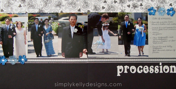 DIY Classic Wedding Scrapbook: The Procession by Simply Kelly Designs #wedding #weddingscrapbook #blackandwhite #scrapbooking