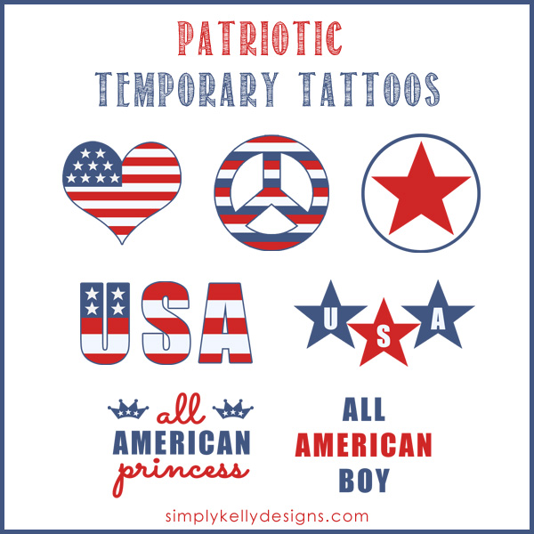 Patriotic Temporary Tattoos by SimplyKellyDesigns #4thOfJuly #USA #Patriotic #temporarytattoos