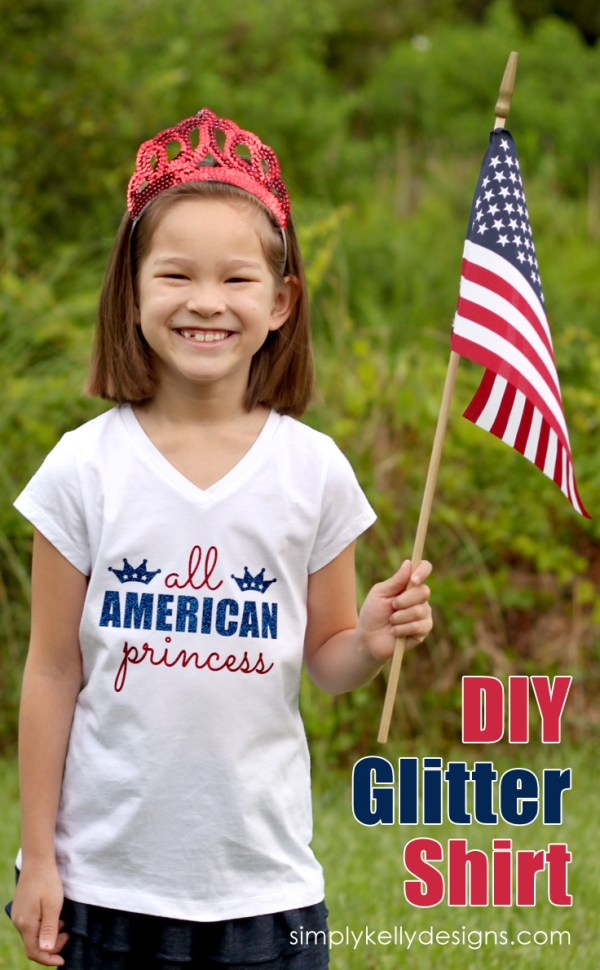 DIY Glittery All American Princess Shirt by Simply Kelly Designs #4thofJuly #Silhouette #redwhiteandblue #patriotic #USA