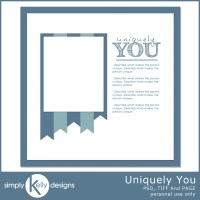 Uniquely You Digital Scrapbook Template by Simply Kelly Designs #digiscrap #blogtrain