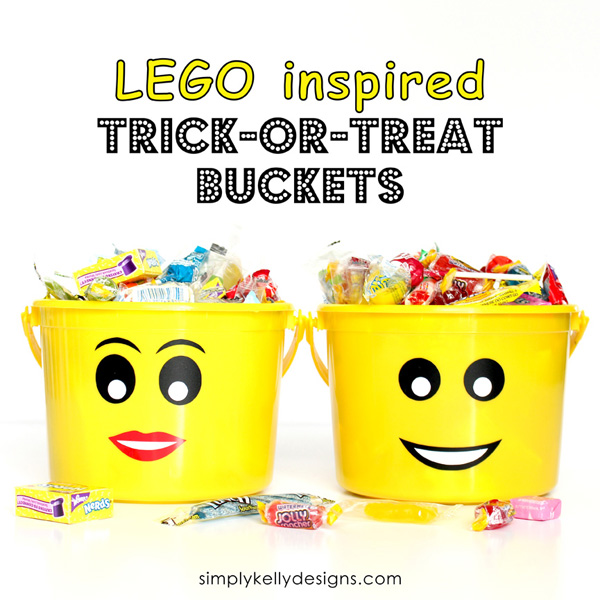 These LEGO inspired trick-or-treat buckets are perfect for your LEGO lover this Halloween!