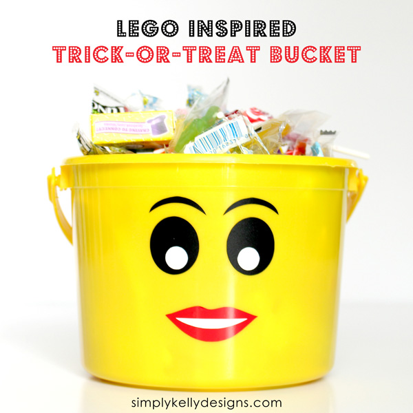 LEGO Inspired Trick-Or-Treat Buckets With Free Printable by Simply Kelly Designs #Halloween #TrickOrTreating #LEGOInspired #buckets #yellow #Silhouette #printable #vinyl