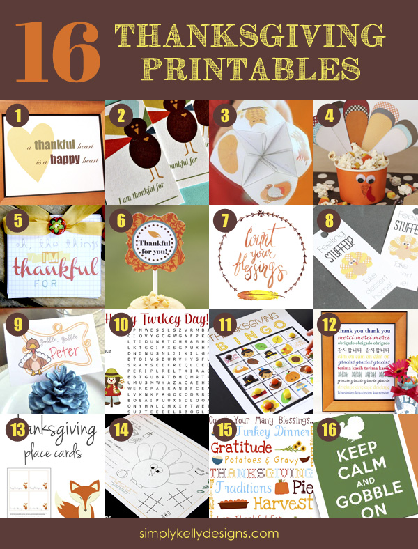 16 Free Thanksgiving Printables | Simply Kelly Designs #Thanksgiving #printables #free #roundup