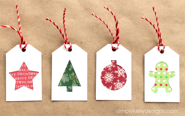 DIY Christmas Gift Tags With Scrapbook Paper Scraps And Free Cut ...
