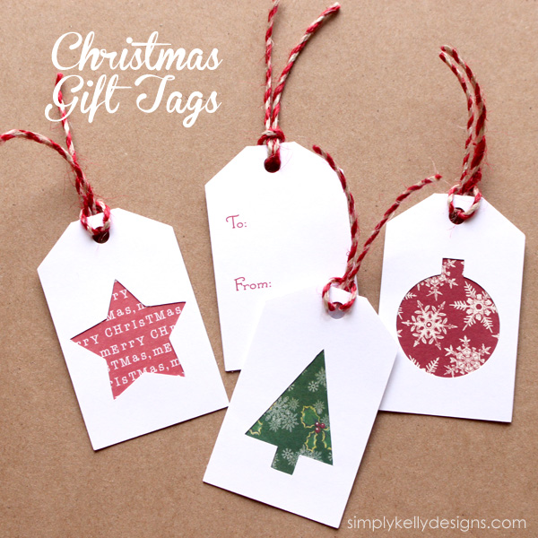 Christmas Tags With Scrapbook Paper Scraps by Simply Kelly Designs #Silhouette #scrapbooking #papercrafting #Christmas #gifttags