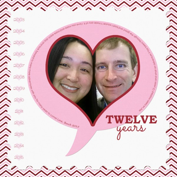 Twelve Years Scrapbook Layout by Simply Kelly Designs #digiscrap #anniversary #love #layoutinspiration