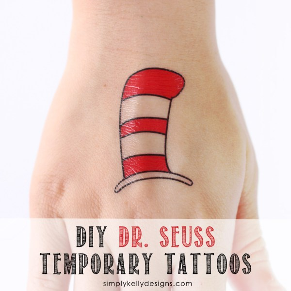 DIY Dr. Seuss Temporary Tattoos #DrSeuss #temporarytattoos #CraftLightning #CatInTheHat #GreenEggsAndHam #Lorax #mustache