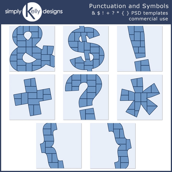 Punctuation and Symbols Digital Scrapbook Template Set by Simply Kelly Designs #digiscrap #templates #simplykellydesigns