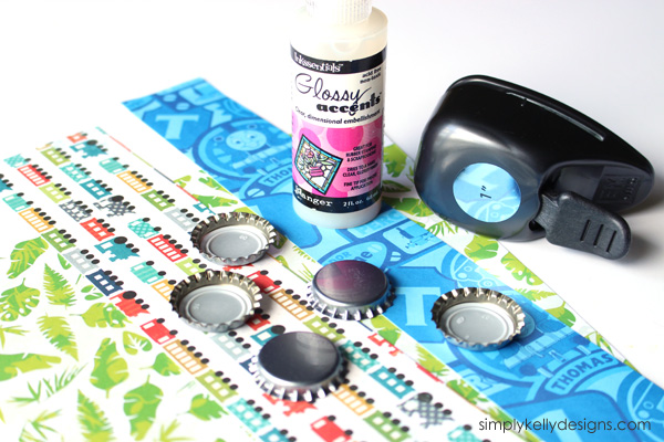 Make personalized bottle cap magnets with your scrapbook paper scraps! -> Bottle Cap Magnets by Simply Kelly Designs #bottlecaps #craftlightning #glossyaccents #scrapbookpaper