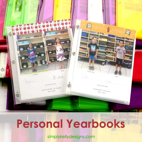 see examples of completed personal yearbooks for kindergarten and second grade