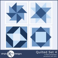 New Quilted Template Set 4 and Quilted Template Set 1 to 4 Bundle Digital Scrapbook Templates