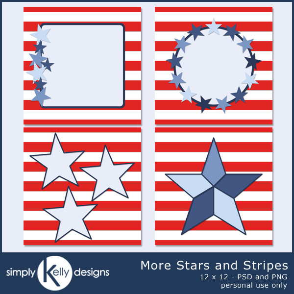 More Stars and Stripes 12x12 Templates by Simply Kelly Designs