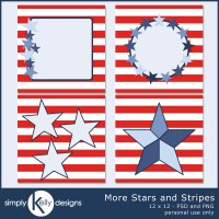 More Stars And Stripes Digital Scrapbook Templates