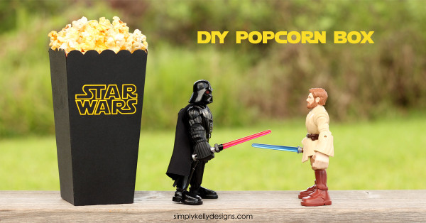 Download a free cut file to make your own DIY Star Wars popcorn box - Simply Kelly Designs