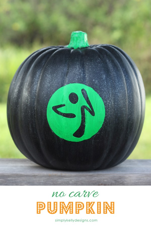 Create this glow in the dark no carve pumkin to show off your Zumba love!