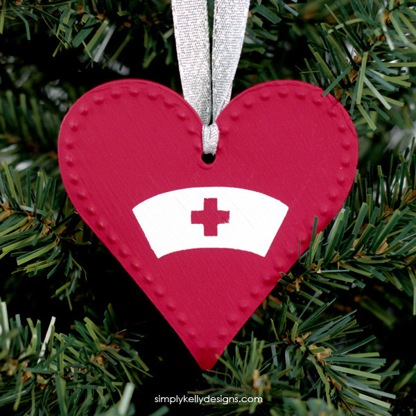 Create this DIY ornament for the special nurse in your life. Post includes free cut file.