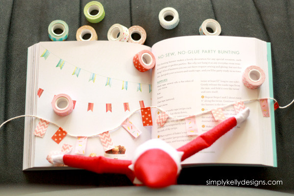 Our Elf On The Shelf was crafty and made one of the projects from Amy Anderson's Washi Tape Crafts book!
