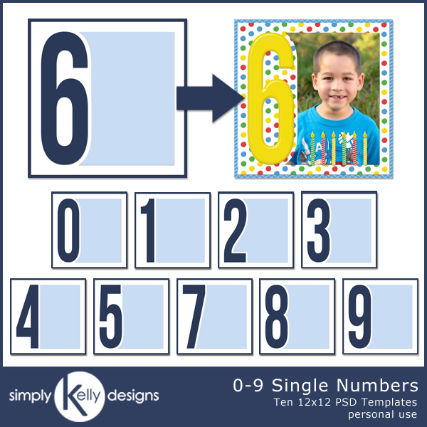 0-9 Single Numbers 12x12 PSD Templates