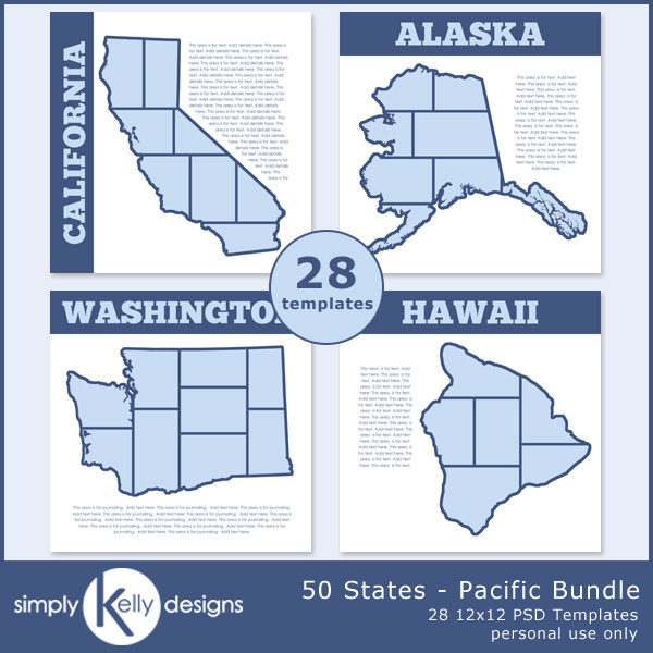 50 States - Pacific Bundle digital scrapbook templates by Simply Kelly Designs