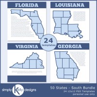 50 States Digital Scrapbook Templates