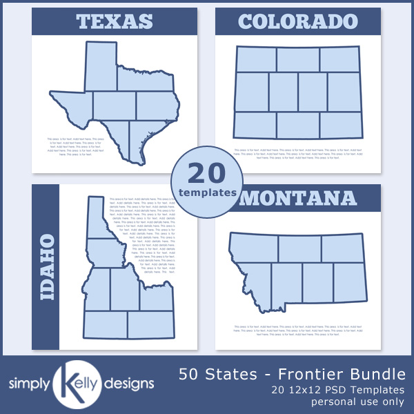 50 States - Frontier Bundle digital scrapbook templates by Simply Kelly Designs
