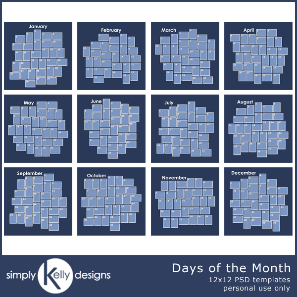 Days of the Month Template Set by Simply Kelly Designs