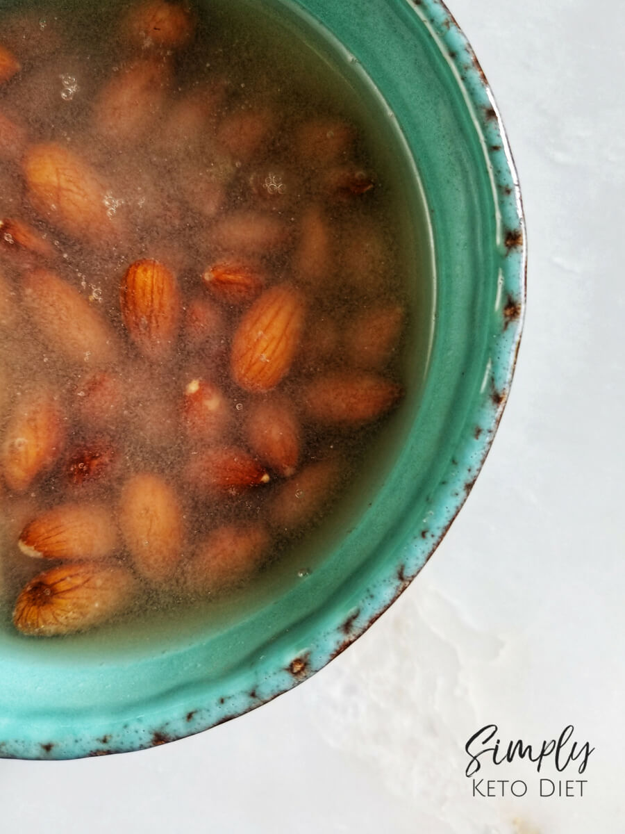 Soak Almonds overnight until water becomes milky looking