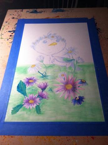 Ichabod WIP Watercoloring