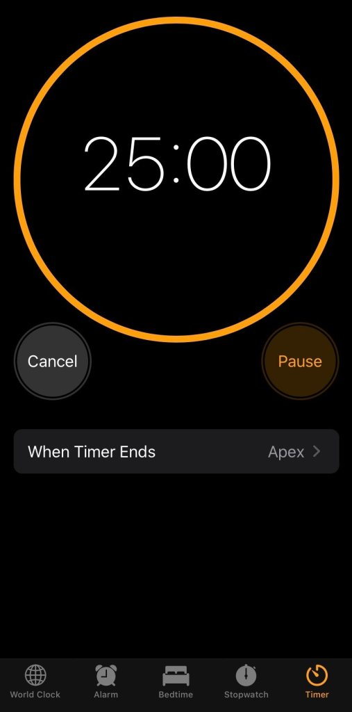 I use a 25 minute timer to help me successfully study and complete long assignments.