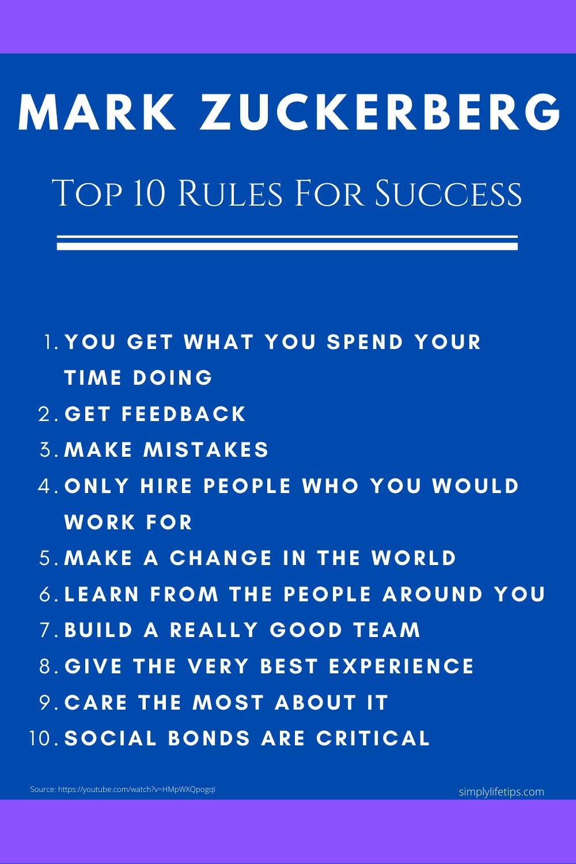 Mark Zuckerberg Facebook CEO Success Rules