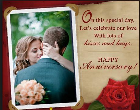 happy anniversary image with kiss and hug