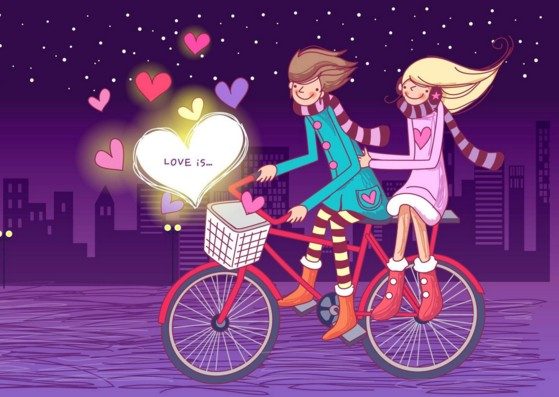 love couple wall paper on bicycle
