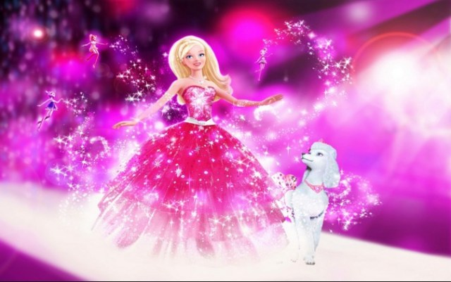 cute barbie doll image with puppy